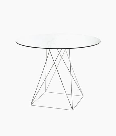 میز گرد شیشه ای